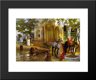 At The Fountain: Modern Black Framed Art Print by Frederick Arthur Bridgman