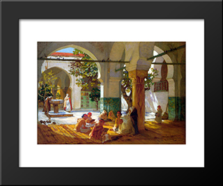 Learning The Qu'Ran: Modern Black Framed Art Print by Frederick Arthur Bridgman