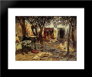 Idle Moments An Arab Courtyard: Modern Black Framed Art Print by Frederick Arthur Bridgman