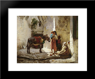 The Orange Seller: Modern Black Framed Art Print by Frederick Arthur Bridgman