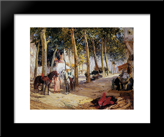 A Shady Street: Modern Black Framed Art Print by Frederick Arthur Bridgman