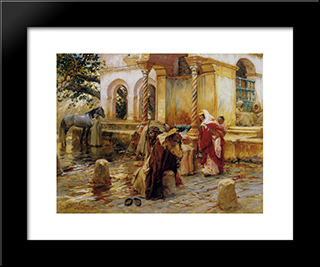 Fountain Of Borkadem: Modern Black Framed Art Print by Frederick Arthur Bridgman