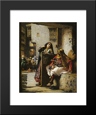 Almeh Flirting With An Armenian Policeman, Cairo: Modern Black Framed Art Print by Frederick Arthur Bridgman