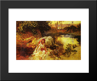 At The Oasis: Modern Black Framed Art Print by Frederick Arthur Bridgman