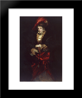 Portrait Of A Lady With Red Plumed Hat: Modern Black Framed Art Print by Hans Makart