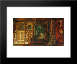 The Summer Night'S Dream, Sketch For The Decoration Of A Room In The Hermes Villa: Modern Black Framed Art Print by Hans Makart