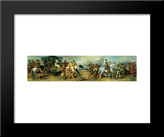 Hunting Party With Treasure Wagon: Modern Black Framed Art Print by Hans Makart