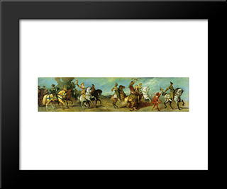 The Anniversary Parade: The Falcon Hunt: Modern Black Framed Art Print by Hans Makart