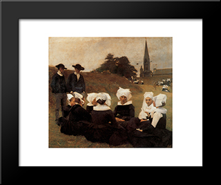 Breton Women At A Pardon: Modern Black Framed Art Print by Pascal Adophe Jean Dagnan Bouveret