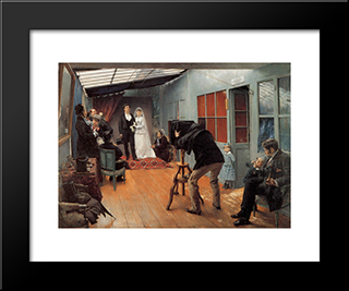 Wedding Party At The Photographer'S Studio: Modern Black Framed Art Print by Pascal Adophe Jean Dagnan Bouveret