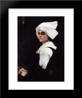 Portrait Of A Brittany Girl: Modern Black Framed Art Print by Pascal Adophe Jean Dagnan Bouveret
