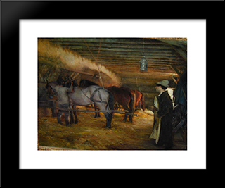 In The Stable: Modern Black Framed Art Print by Pascal Adophe Jean Dagnan Bouveret