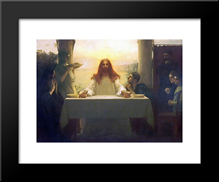 Christ And The Disciples At Emmaus: Modern Black Framed Art Print by Pascal Adophe Jean Dagnan Bouveret