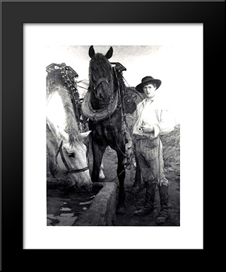 Horses At The Watering Trough: Modern Black Framed Art Print by Pascal Adophe Jean Dagnan Bouveret