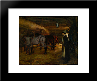 A Stable: Modern Black Framed Art Print by Pascal Adolphe Jean Dagnan Bouveret