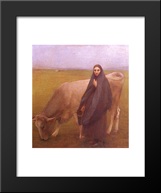 In The Meadow: Modern Black Framed Art Print by Pascal Adophe Jean Dagnan Bouveret