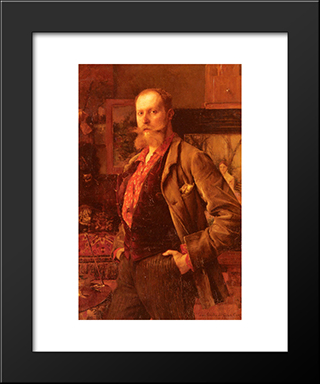 Portrait Of Gustave Courtois: Modern Black Framed Art Print by Pascal Adophe Jean Dagnan Bouveret