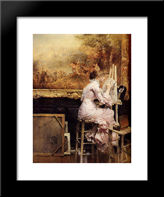 Young Watercolourist In The Louvre: Modern Black Framed Art Print by Pascal Adophe Jean Dagnan Bouveret