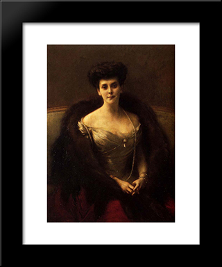 Portrait Of Princess O. V. Paley: Modern Black Framed Art Print by Pascal Adophe Jean Dagnan Bouveret