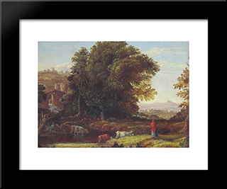 Italian Lanscape With Adueduct: Modern Black Framed Art Print by George Inness