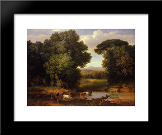 A Bit Of Roman Aqueduct: Modern Black Framed Art Print by George Inness