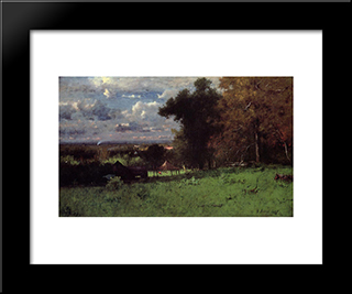 A Breezy Autumn: Modern Black Framed Art Print by George Inness