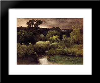 A Gray, Lowery Day: Modern Black Framed Art Print by George Inness