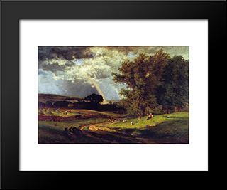 A Passing Shower: Modern Black Framed Art Print by George Inness