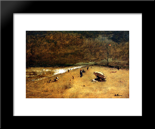Along The Jersey Shore: Modern Black Framed Art Print by George Inness