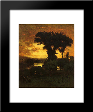 Afterglow: Modern Black Framed Art Print by George Inness