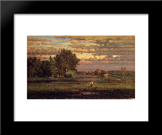 Clearing Up: Modern Black Framed Art Print by George Inness