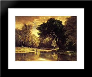 Fisherman In A Stream: Modern Black Framed Art Print by George Inness