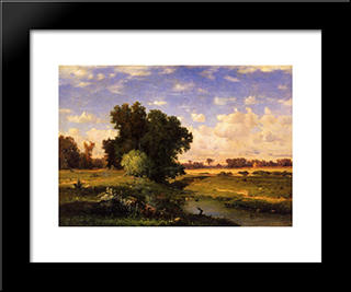 Hackensack Meadows, Sunset: Modern Black Framed Art Print by George Inness