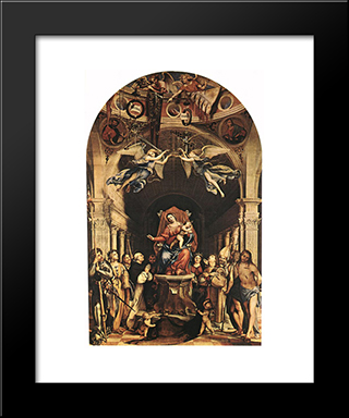 Madonna With The Child And Saints: Modern Black Framed Art Print by Lorenzo Lotto