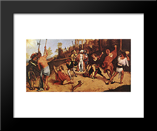 The Martyrdom Of St Stephen: Modern Black Framed Art Print by Lorenzo Lotto