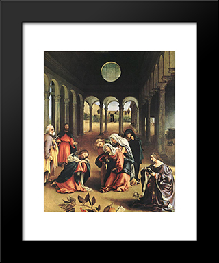 Christ Taking Leave Of His Mother: Modern Black Framed Art Print by Lorenzo Lotto