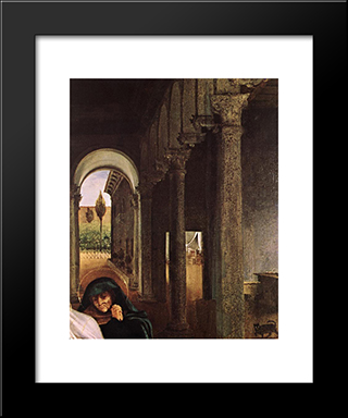 Christ Taking Leave Of His Mother [Detail: 1]: Modern Black Framed Art Print by Lorenzo Lotto