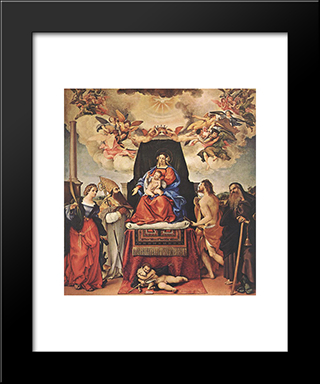 Madonna And Child With Saints: Modern Black Framed Art Print by Lorenzo Lotto