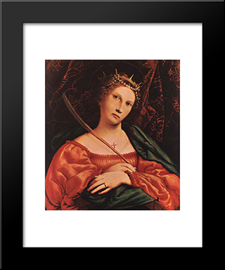 St Catherine Of Alexandria: Modern Black Framed Art Print by Lorenzo Lotto