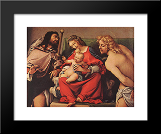 Madonna With The Child And Sts Rock And Sebastian: Modern Black Framed Art Print by Lorenzo Lotto