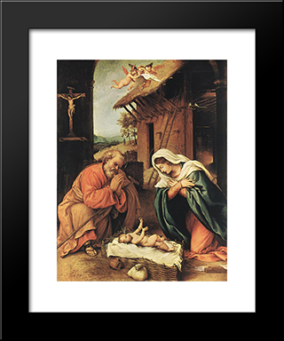 Nativity: Modern Black Framed Art Print by Lorenzo Lotto