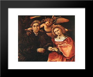 Messer Marsilio And His Wife: Modern Black Framed Art Print by Lorenzo Lotto