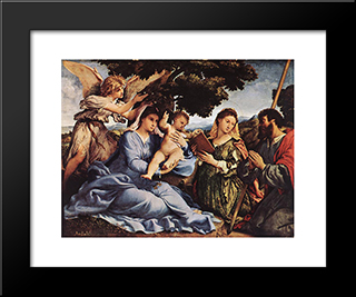 Madonna And Child With Saints And An Angel: Modern Black Framed Art Print by Lorenzo Lotto