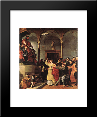 St Lucy Before The Judge: Modern Black Framed Art Print by Lorenzo Lotto