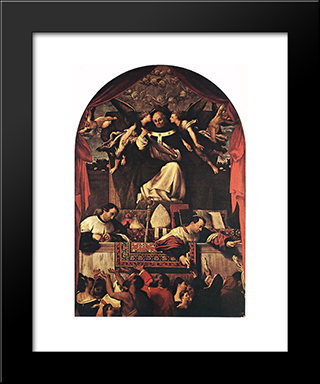 The Alms Of St Anthony: Modern Black Framed Art Print by Lorenzo Lotto