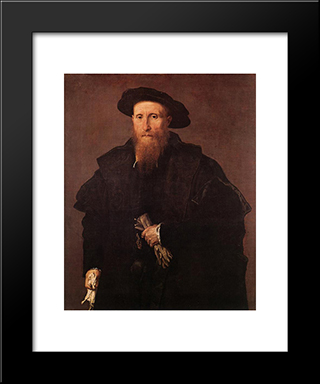 Gentleman With Gloves: Modern Black Framed Art Print by Lorenzo Lotto