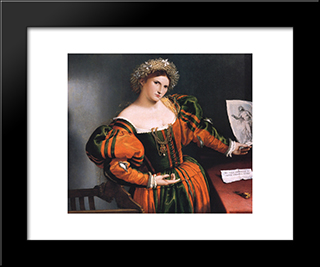 Portrait Of A Lady With A Picture Of The Suicide Of Lucretia: Modern Black Framed Art Print by Lorenzo Lotto