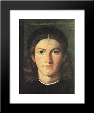 Head Of A Young Man: Modern Black Framed Art Print by Lorenzo Lotto