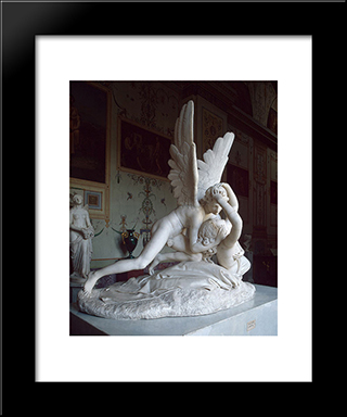 Cupid And Psyche: Modern Black Framed Art Print by Antonio Canova