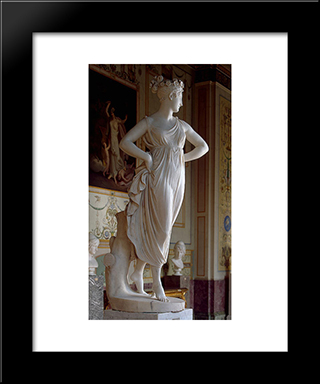 Dancer: Modern Black Framed Art Print by Antonio Canova